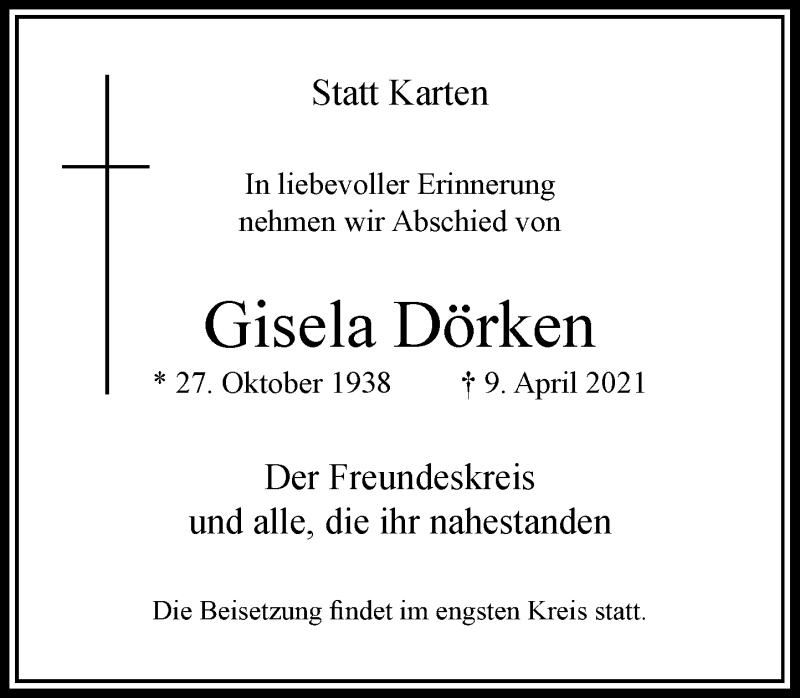 Traueranzeige für Gisela Dörken vom 01.05.2021 aus Rheinische Post