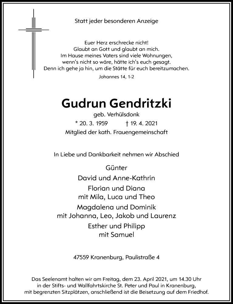 Traueranzeige für Gudrun Gendritzki vom 21.04.2021 aus Rheinische Post