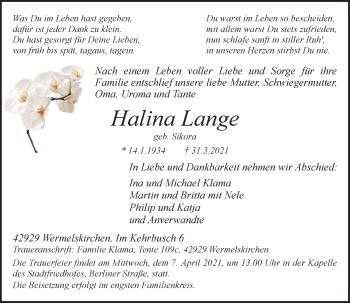 Traueranzeige von Halina Lange von Rheinische Post