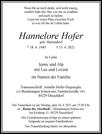Traueranzeige von Hannelore Hofer von Rheinische Post