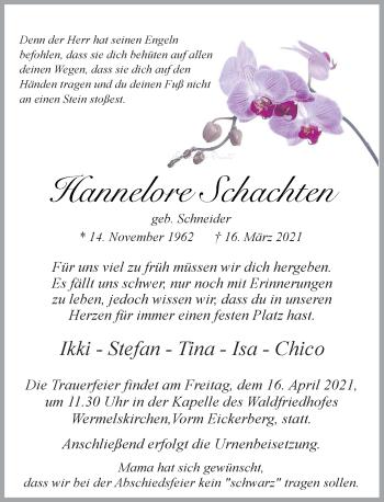 Traueranzeige von Hannelore Schachten von Rheinische Post