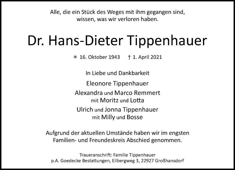 Traueranzeige für Hans-Dieter Tippenhauer vom 24.04.2021 aus Rheinische Post