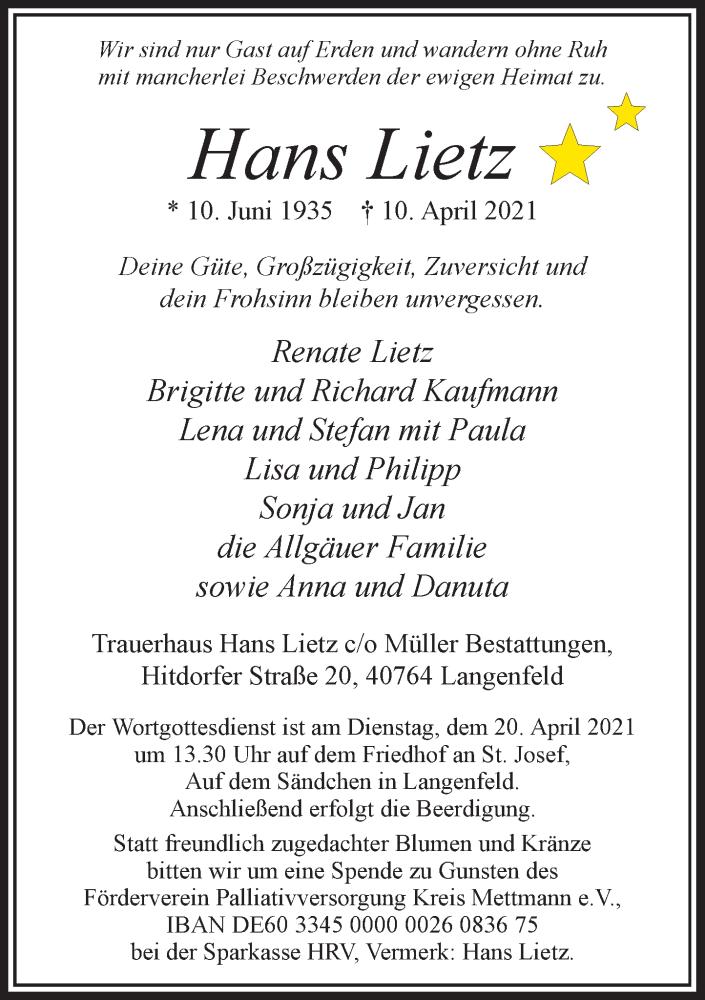 Traueranzeige für Hans Lietz vom 17.04.2021 aus Rheinische Post