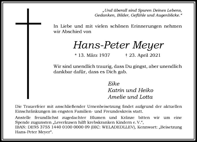 Traueranzeige für Hans-Peter Meyer vom 01.05.2021 aus Rheinische Post