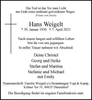 Traueranzeige von Hans Weigelt von Rheinische Post