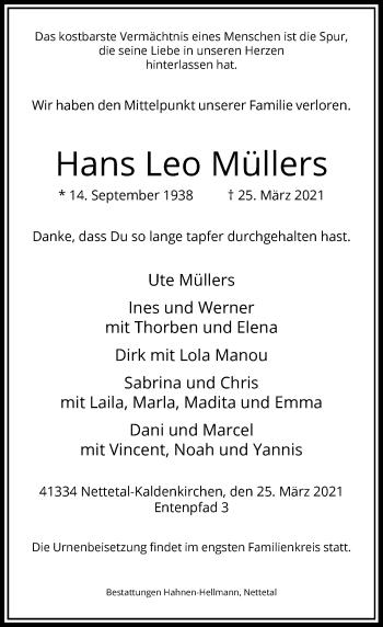 Traueranzeige von Hans Leo Müllers von Rheinische Post
