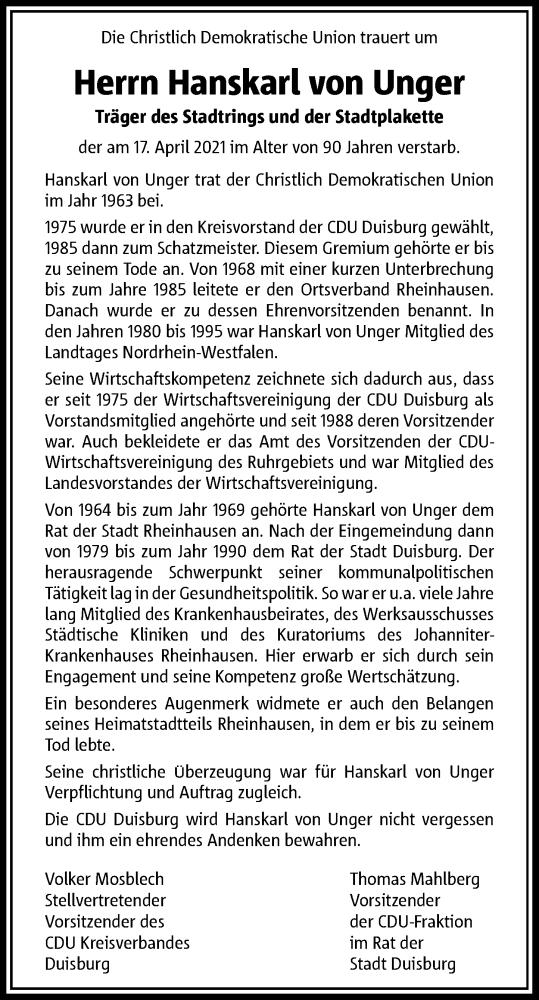 Traueranzeige für Hanskarl von Unger vom 27.04.2021 aus Rheinische Post