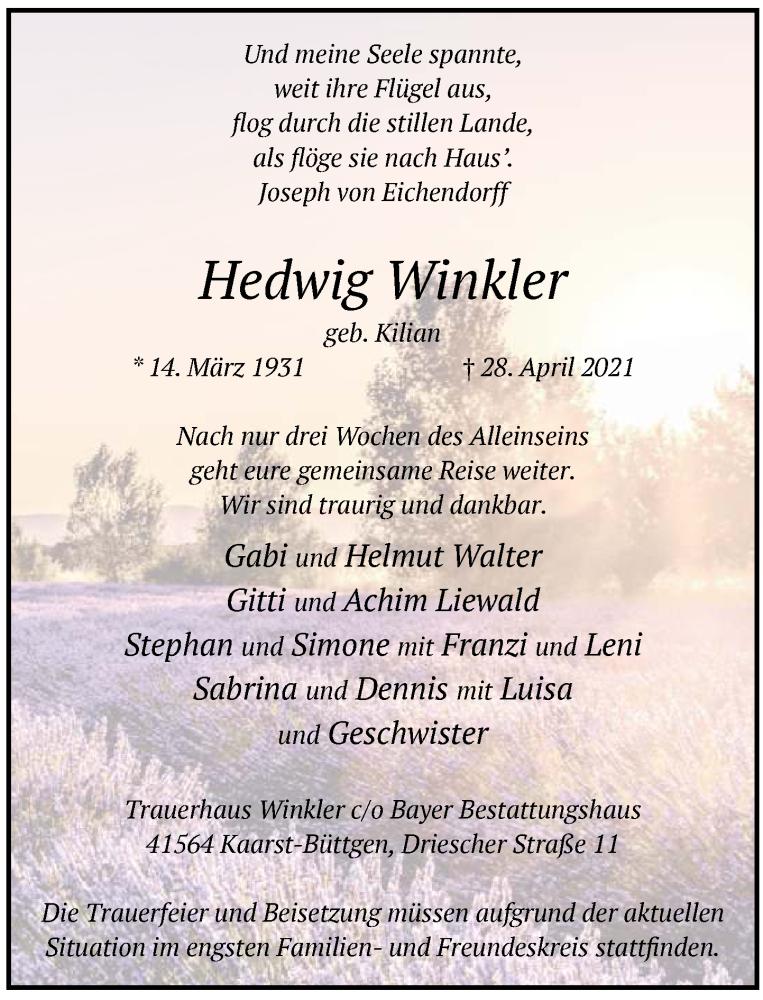 Traueranzeige für Hedwig Winkler vom 01.05.2021 aus Rheinische Post