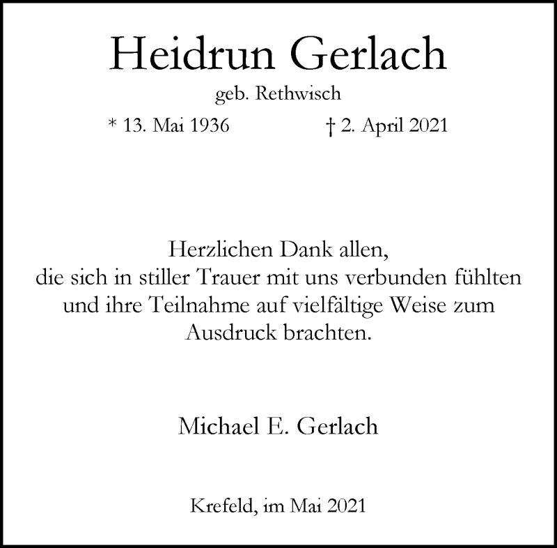 Traueranzeige für Heidrun Gerlach vom 01.05.2021 aus Rheinische Post