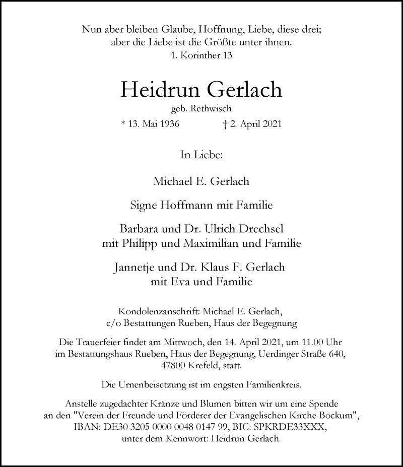 Traueranzeige für Heidrun Gerlach vom 10.04.2021 aus Rheinische Post