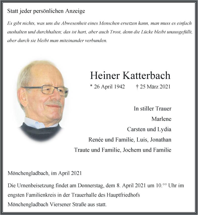 Traueranzeige für Heiner Katterbach vom 03.04.2021 aus Rheinische Post