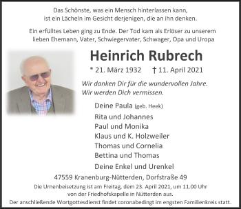 Traueranzeige von Heinrich Rubrech von Rheinische Post