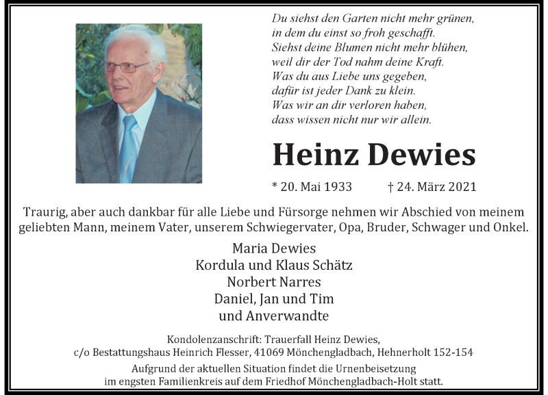 Traueranzeige für Heinz Dewies vom 03.04.2021 aus Rheinische Post