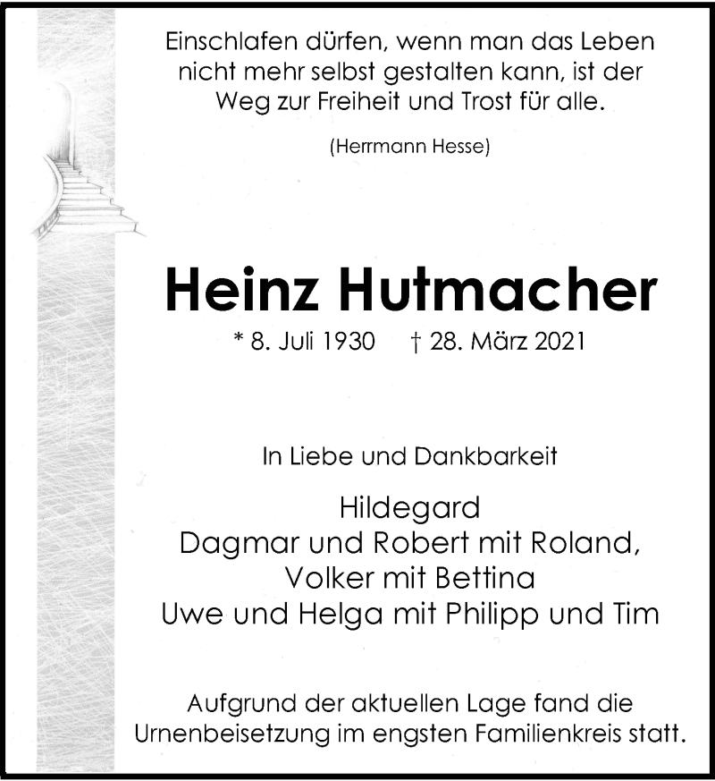 Traueranzeige für Heinz Hutmacher vom 01.05.2021 aus Rheinische Post