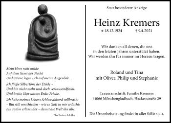 Traueranzeige von Heinz Kremers von Rheinische Post