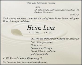 Traueranzeige von Heinz Lenz von Rheinische Post