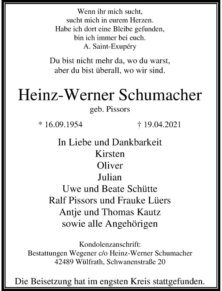 Traueranzeige für Heinz-Werner Schumacher vom 08.05.2021 aus Rheinische Post