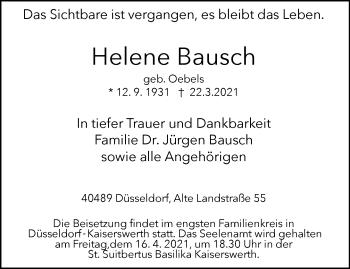 Traueranzeige von Helene Bausch von Rheinische Post