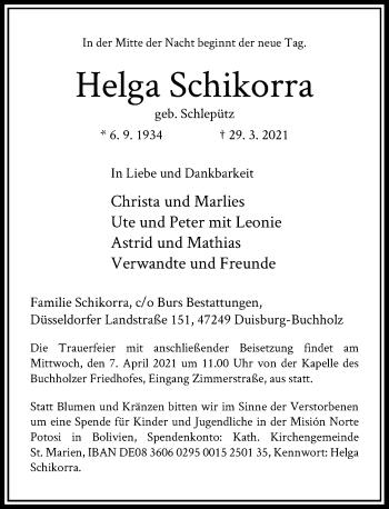 Traueranzeige von Helga Schikorra von Rheinische Post