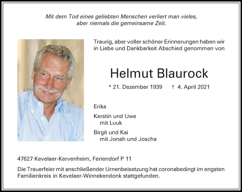 Traueranzeige für Helmut Blaurock vom 24.04.2021 aus Rheinische Post