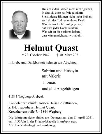 Traueranzeige von Helmut Quast von Rheinische Post