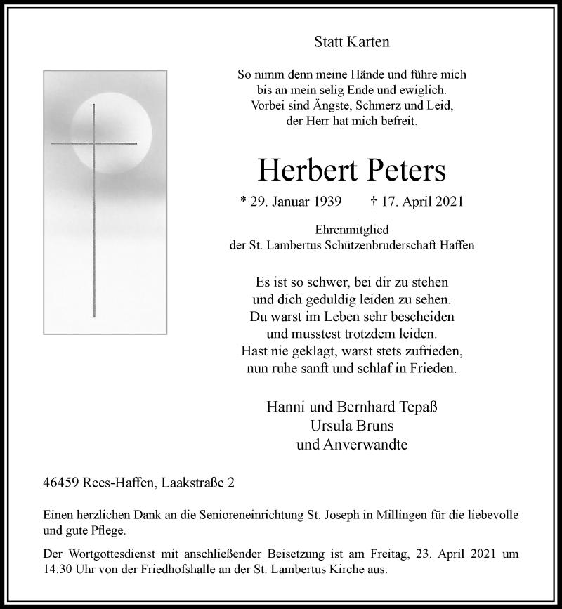 Traueranzeige für Herbert Peters vom 21.04.2021 aus Rheinische Post
