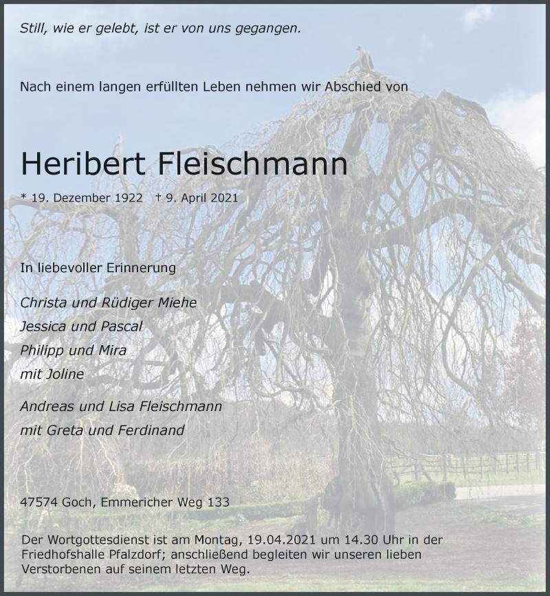 Traueranzeige für Heribert Fleischmann vom 16.04.2021 aus Rheinische Post