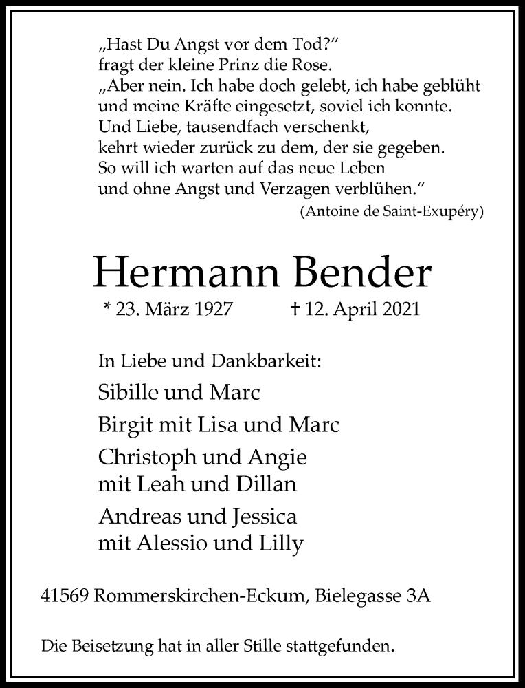 Traueranzeige für Hermann Bender vom 28.04.2021 aus Rheinische Post
