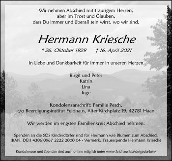 Traueranzeige von Hermann Kriesche von Rheinische Post