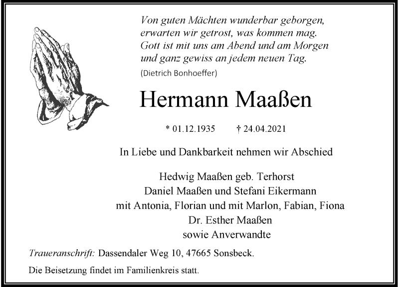Traueranzeige für Hermann Maaßen vom 30.04.2021 aus Rheinische Post
