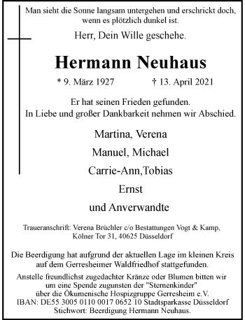 Traueranzeige von Hermann Neuhaus von Rheinische Post