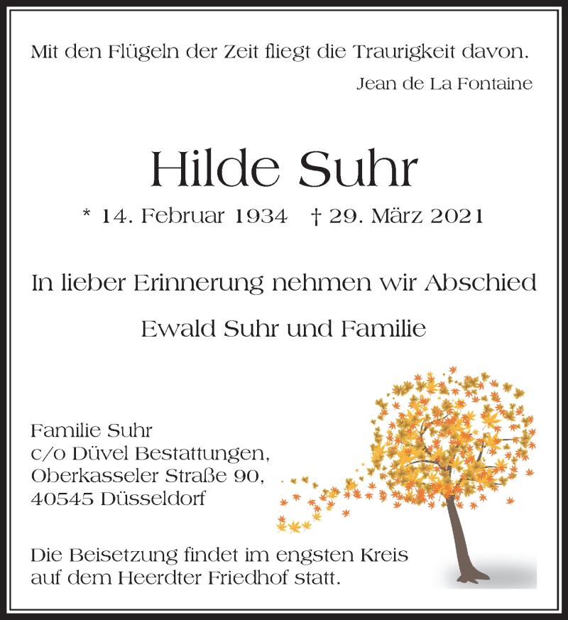 Traueranzeige für Hilde Suhr vom 03.04.2021 aus Rheinische Post