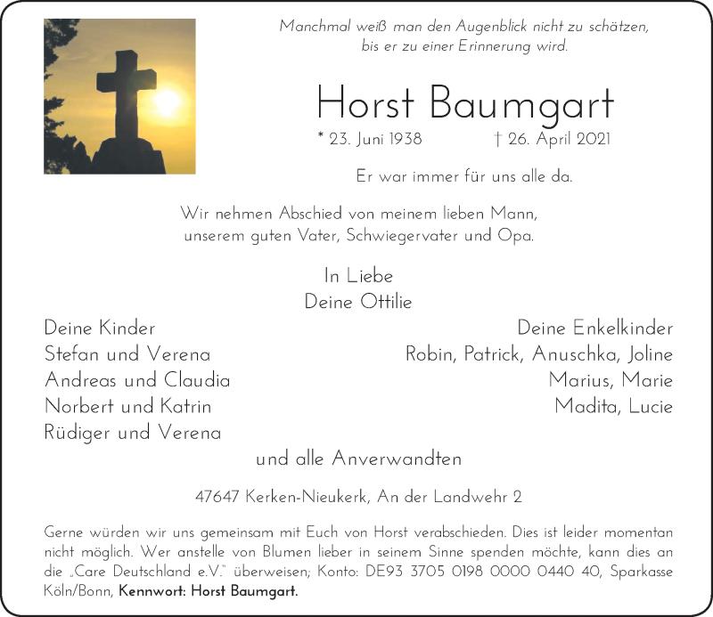 Traueranzeige für Horst Baumgart vom 30.04.2021 aus Rheinische Post