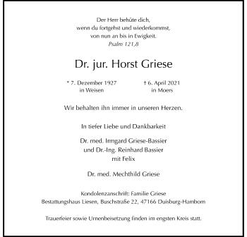 Traueranzeige von Horst Griese von Rheinische Post