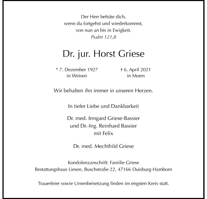 Traueranzeige für Horst Griese vom 10.04.2021 aus Rheinische Post