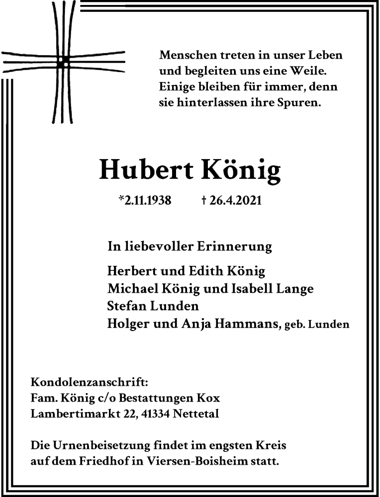 Traueranzeige für Hubert König vom 01.05.2021 aus Rheinische Post