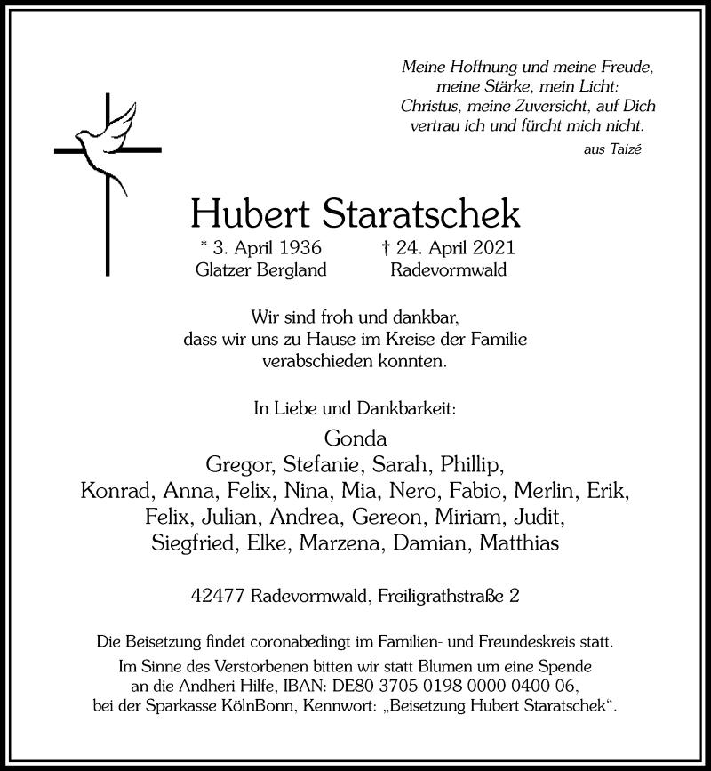 Traueranzeige für Hubert Staratschek vom 01.05.2021 aus Rheinische Post