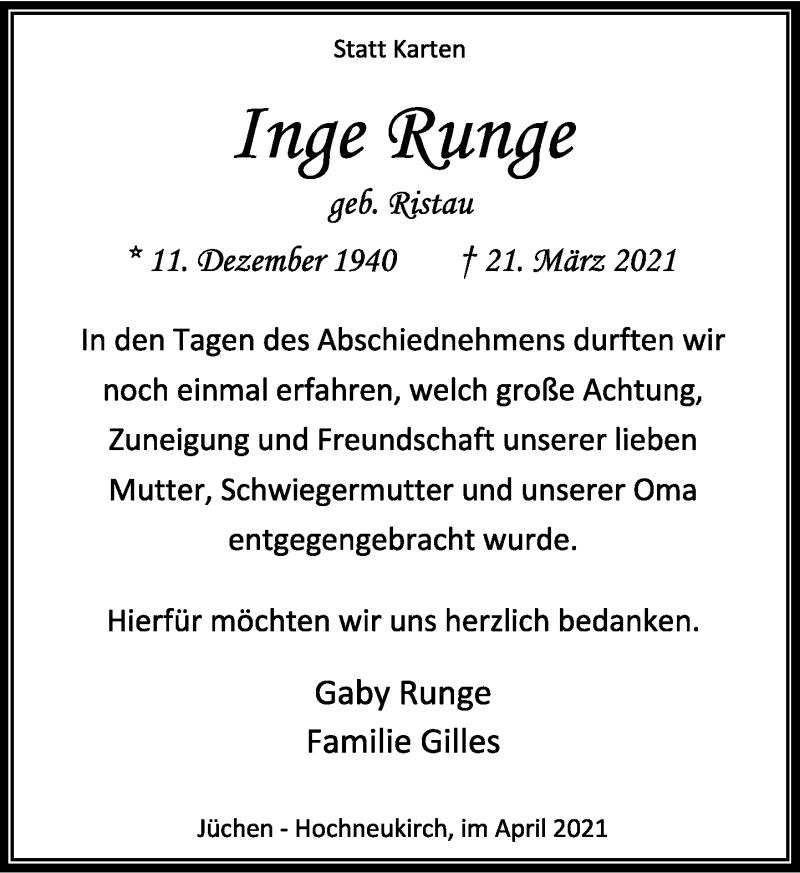 Traueranzeige für Inge Runge vom 24.04.2021 aus Rheinische Post