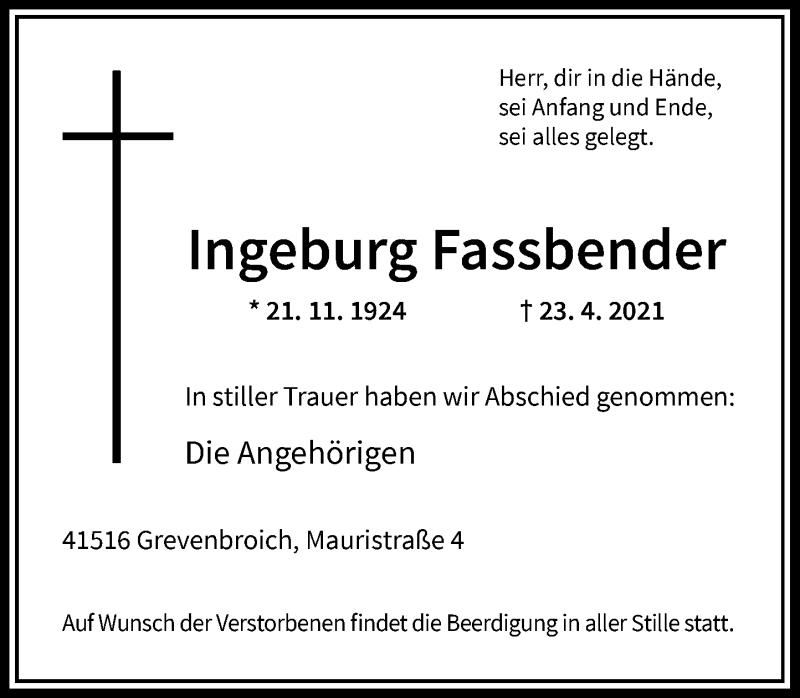 Traueranzeige für Ingeburg Fassbender vom 01.05.2021 aus Rheinische Post