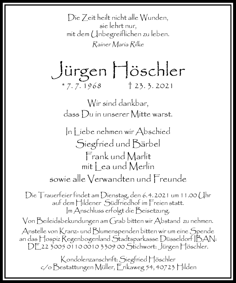 Traueranzeige für Jürgen Hölscher vom 03.04.2021 aus Rheinische Post