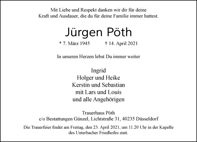 Traueranzeige für Jürgen Pöth vom 21.04.2021 aus Rheinische Post