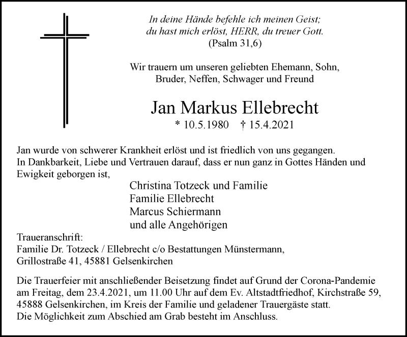 Traueranzeige für Jan Markus Ellebrecht vom 21.04.2021 aus Rheinische Post