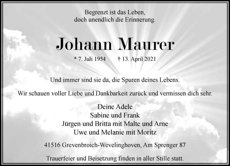Traueranzeige für Johann Maurer vom 17.04.2021 aus Rheinische Post