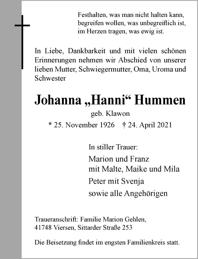 Traueranzeige für Johanna Hummen vom 01.05.2021 aus Rheinische Post