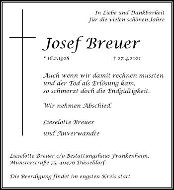 Traueranzeige von Josef Breuer von Rheinische Post