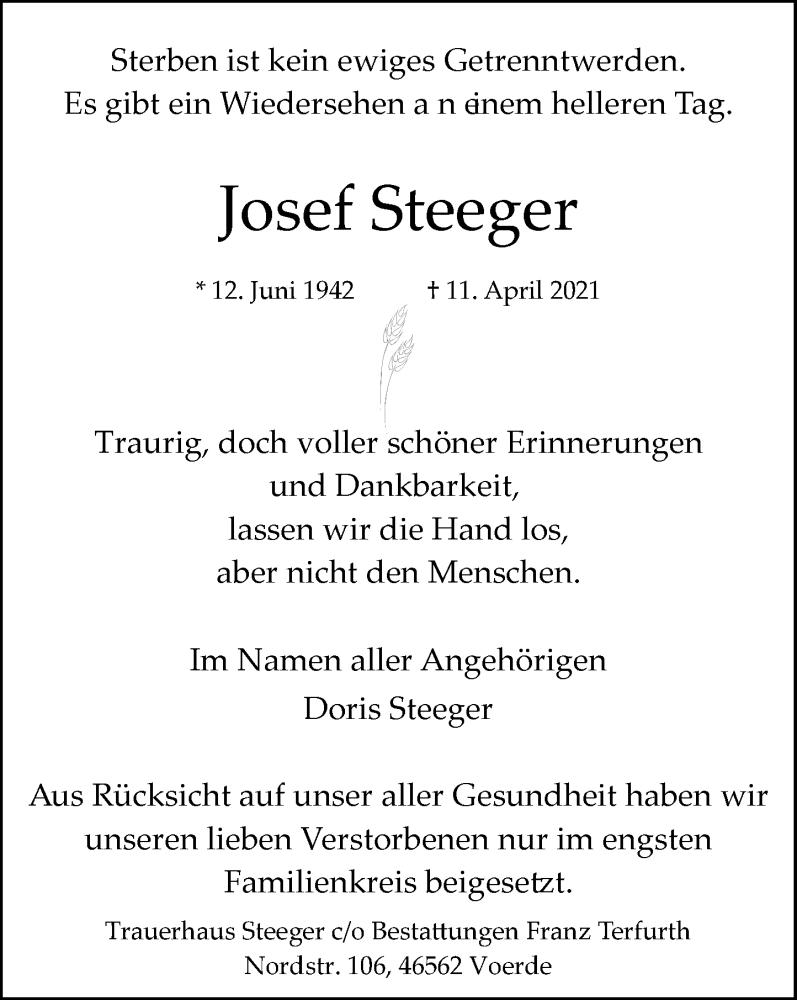 Traueranzeige für Josef Steeger vom 17.04.2021 aus Rheinische Post