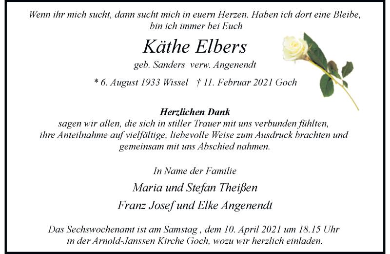 Traueranzeige für Käthe Elbers vom 03.04.2021 aus Rheinische Post