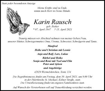 Traueranzeige von Kann Rausch von Rheinische Post