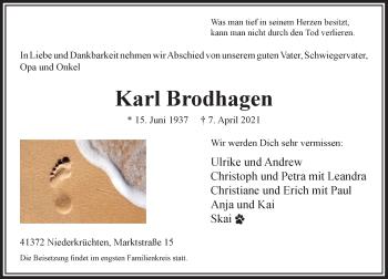 Traueranzeige von Karl Brodhagen von Rheinische Post