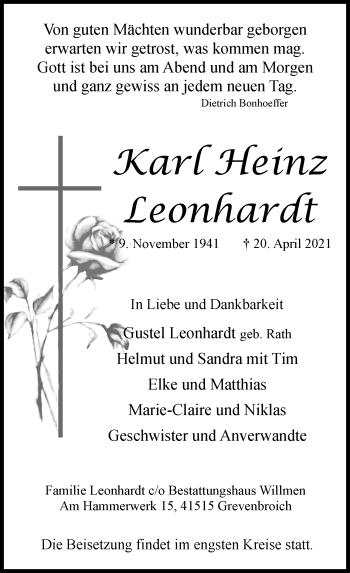 Traueranzeige von Karl Heinz Leonhardt von Rheinische Post